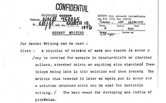 Declassified document describing how invisible ink made from nitrate of soda and starch was used