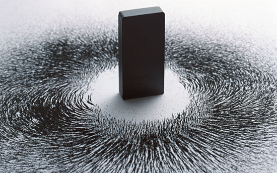 Metal particles surrounding a magnet