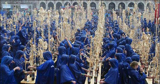 In Belgium, 1,500 students simultaneously inserted Mentos into Diet Coke bottles instantly setting a new world record!