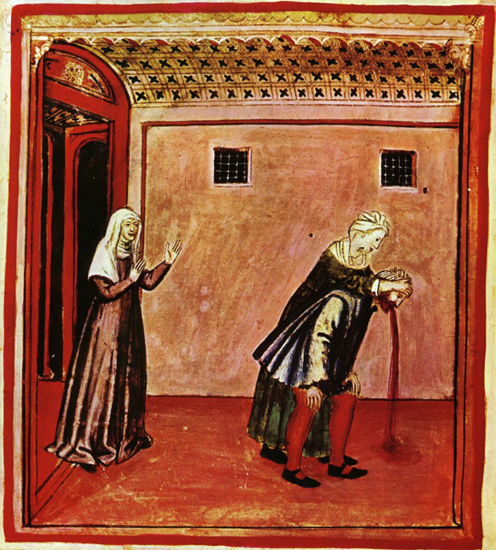 """This is a 14th century illustration of some guy vomiting.  The lady on the left seems to be happy about it so we figure she's saying something like, """"I TOLD you not to be eating cabbage with red beans!"""""""