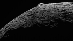 Strange equatorial ridge on Iapetus (one of Saturn's moons)