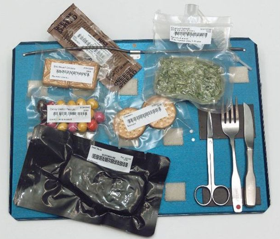 An astronaut food tray aboard Space Shuttle