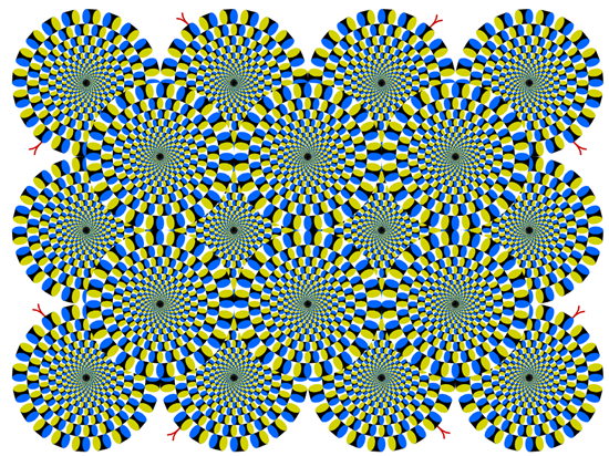 Optical illusion makes circles appear to be swirling