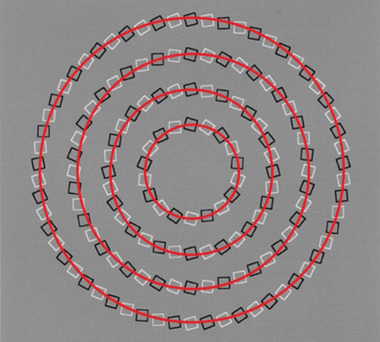 These small black and white boxes produce an optical illusion showing swirling, overlapping circles