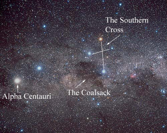 Star map of The Southern Cross and Alpha Centauri